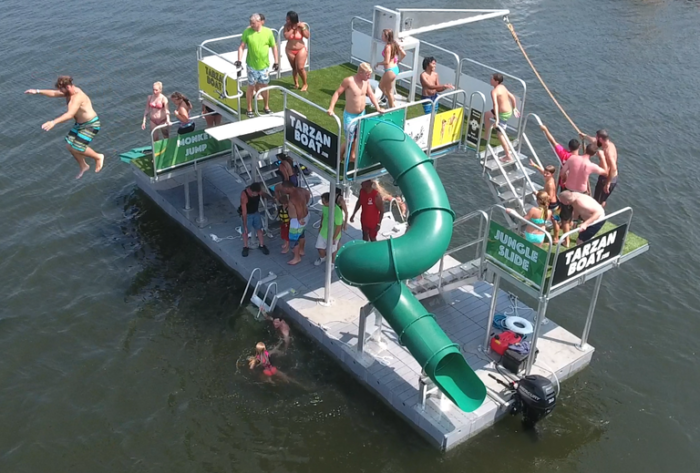 TARZAN BOAT – NEW FLOATING WATERPARK ON BIG BEAR LAKE