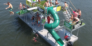 TARZAN BOAT - NEW FLOATING WATERPARK ON BIG BEAR LAKE